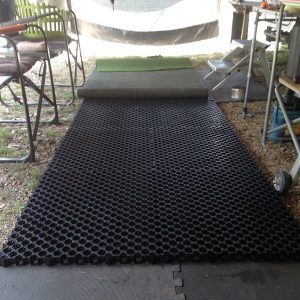 Camping, Caravan, Motorhome Floor Mats-Mats Laid Out Under Fake Grass Under Annex