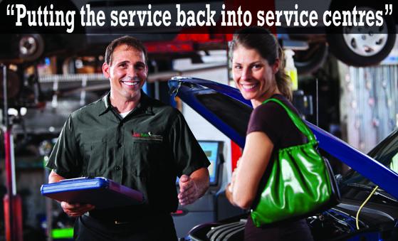 Autobahn mechanic with customer