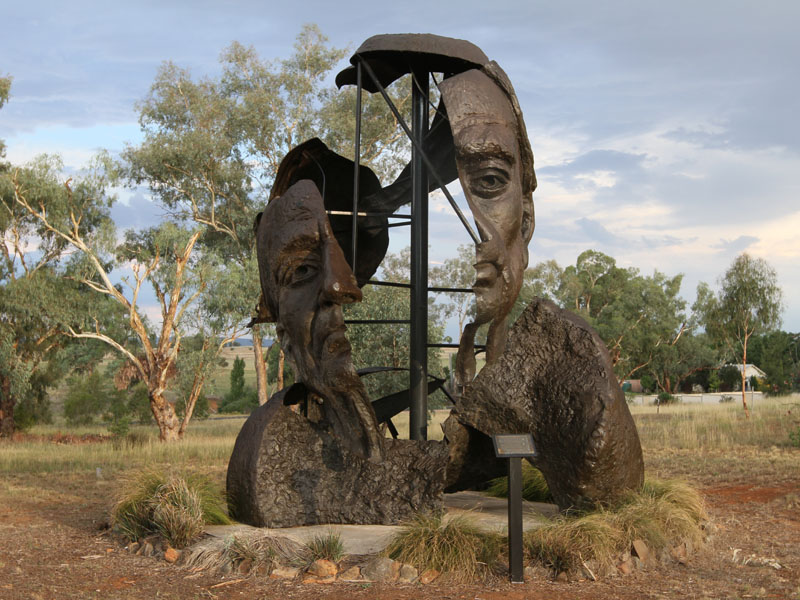 The sculpture of the head of Henry Moore by Drago Marin Cherina in the Banjo Paterson Bush Park